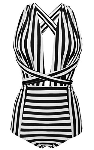 COCOSHIP Black & White Striped Fashion One Piece V-Neck Swimsuit Bather High Waisted Criss Cross Swimwear Monokini XXXL(FBA)