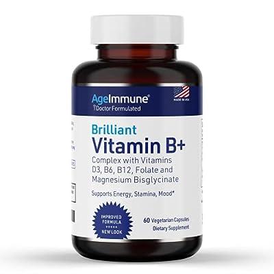 Vitamin B Supplements Complex with Vitamins B6 20mg, D3 1000IU, Magnesium 260mg, Methyl B12 1000mcg, and Methylfolate Folate (Folic Acid) 600mcg DFE. Doctor Formulated MTHFR Support Supplement.