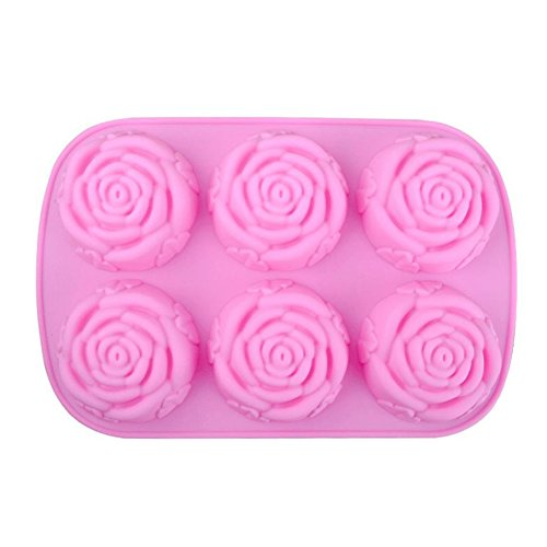 Gespout Moule à Cake Anti-adhérent en Silicone 6 Roses Gâteau Cookie Savons Gelée Chocolat Outil Cuisson de Cuisine