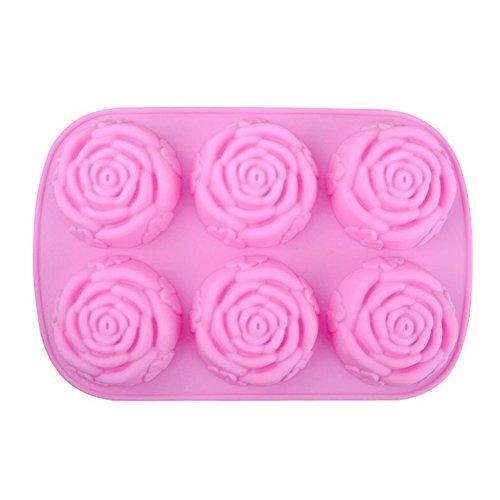 JUNGEN Moule à Gâteau 6 Cavity Rose Silicone DIY Dessert, Chocolat, Biscuit Bonbons Molds Couleur Aléatoire