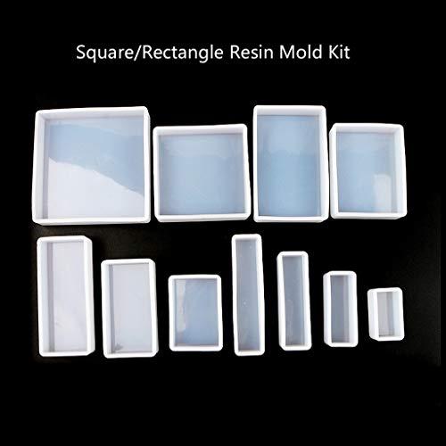 liumiKK 11Pcs Square Rectangle Cubic Molds Kit Resin Casing Craft Jewelry Making Tools
