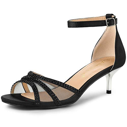 Allegra K Women's Rhinestone Mesh Kitten Heels Sandals Black 4 UK/Label Size 6 US
