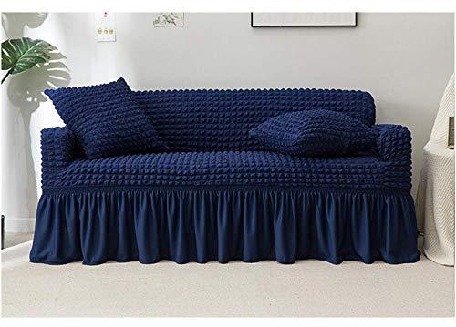 Allenger Funda de Fofá Elástica,Funda de sofá Gruesa de Color sólido, Funda de sofá de Falda Completa, Funda de cojín Antideslizante de Alta Elasticidad-Azul Oscuro_230 * 300cm