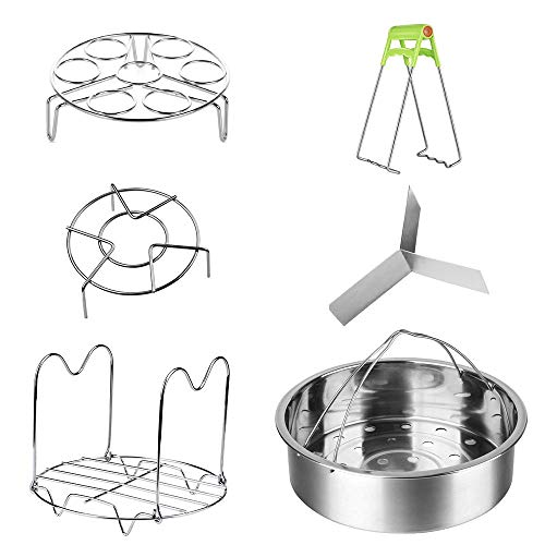 Accessories for Instant Pot,Vermida 6 Pieces Pressure Cooker Accessories with with Steamer Basket,Removable Divider,Egg Steamer Rack,Steamer Rack Trivet with Handle,Cooker Trivet,Dish Clip