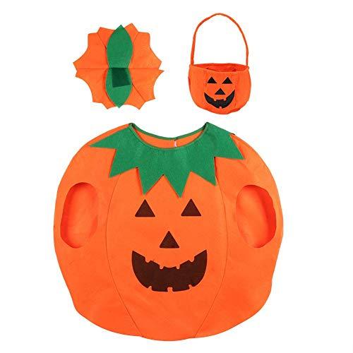 Topincn pompoenkostuum, 3-delige set, Halloween, festivals, cosplay, kleding, decoratie, feestpak, voor kinderen en volwassenen, unisex meerweg verpakking