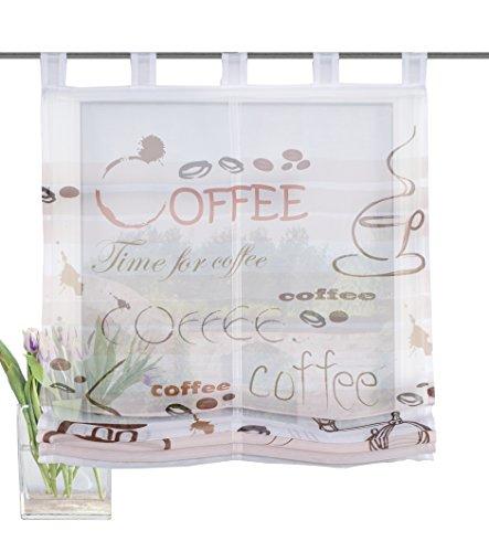 Home Fashion Schlaufenraffrollo Voile Digitaldruck Preto, Polyester, Braun, 140 x 120 cm