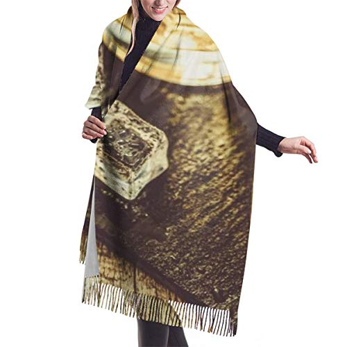Women's Fall Classic Winter Scarf,Whisky Glass With Ice,Scarf Warm Soft Chunky Large Blanket Wrap Shawl Scarves