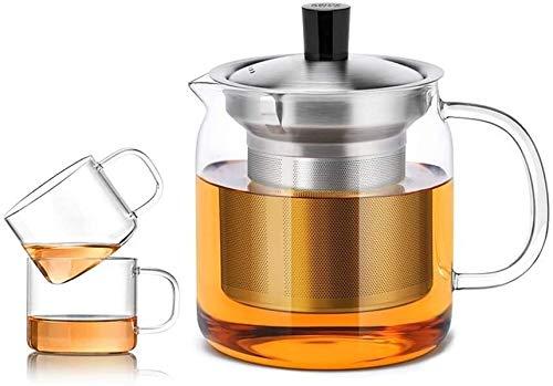 Bouilloire induction Cuisine verre théière théière 500ml verre résistant à la chaleur Théière transparente Petite tasse de filtre de coupe pour la maison bureau 13x7.2cm WHLONG
