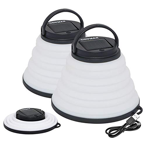 Solar Portable Collapsible Camping Lantern Lights - Water Resistant, 3 Lighting Modes and Multi-color Party Mode, USB Rechargeable or Solar Panel for Outdoor Hiking, Fishing, Emergency (2 Pack)