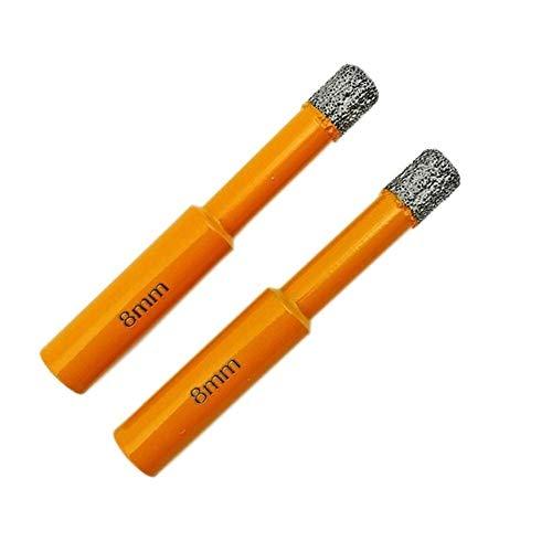 Wohren 2ST Dia 8mm Vaccum Gelötete Diamant-Bohrer 10mm Rundschafttrockenbohren for Stein, Mauerwerk Werkzeug (Color : Orange, Size : 8mm)