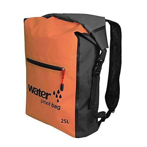 KEECARLY Wasserdicht Dry Bag 25L Schwimmtasche Rucksack Dry Sack-Speicher-Beutel mit justierbarem Doppel Schultergurt for Rafting Sport Kajak Kanu Travel Pack (Color : Orange)