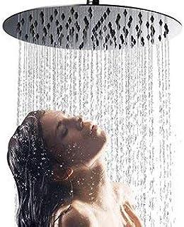 vidaXL Cabezal Ducha Efecto Lluvia Alcachofa Cuarto de Ba/ño Accesorio Rociador Boquillas Giratoria /Área Amplia Acero INOX Cuadrado Negro 50x30 cm