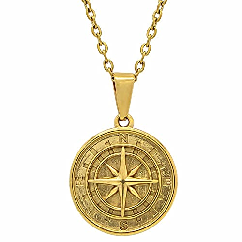 LITMAKERS Kompass Anhänger Herren & Damen Kompass Halskette Stainless Steel vergoldet 51cm Länge Premium-Qualität Mann & Frau