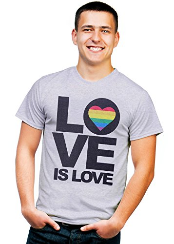 Retreez Classic Rainbow LGBT Gay Love is Love Graphic Printed Unisex Men/Boys/Women T-Shirt Tee - Light Grey - Medium