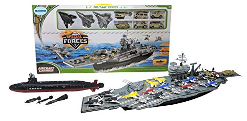 Toy Aircraft Carrier Ship with Warplanes and Submarine Combo, Includes...