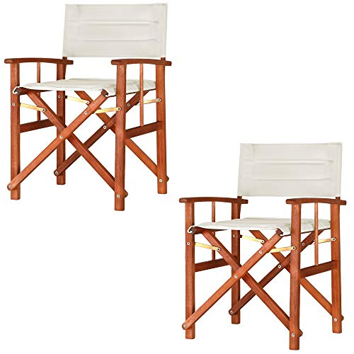 Casaria Gartenstuhl Cannes FSC®-zertifiziertes Eukalyptusholz gepolstert faltbar Klappstuhl Holz Stuhl Regiestuhl