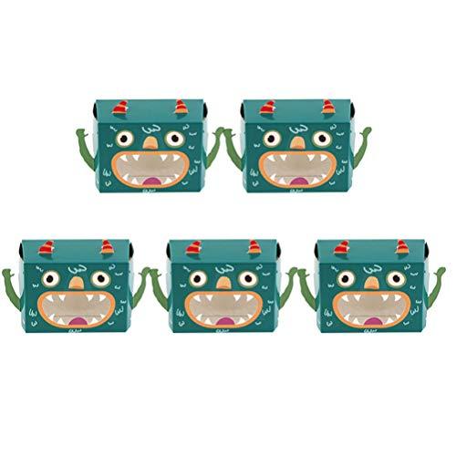 UPKOCH Monster Süßigkeiten-Boxen Kuchen Plätzchen Papier Boxen Halloween Party Leckereien Geschenk Boxen für Kinder Kindergarten, Papier, grün, 5 Stück