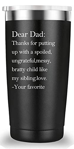 Dear Dad Thanks for Putting Up with a Spoiled Travel Mug Tumbler.Funny Father's Day Birthday Christmas Gifts for Men Papa New Dad Father Daddy from Son Daughter Wife.(20 oz Black)