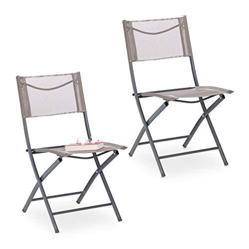 Relaxdays Gartenstuhl 2er Set, Klappstuhl für Balkon, Terrasse, Garten, Metall Campingstuhl bis 120kg, wetterfest, braun