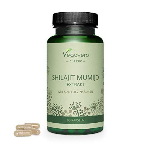 SHILAJIT MUMIJO Kapseln Vegavero ®   500 mg Extrakt pro Kapsel   mit 50% Fulvosäuren   Laborgeprüft & Ohne Zusatzstoffe   100% Natürlich   Vegan   90 Kapseln