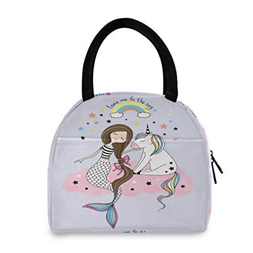 Funnyy - Bolsa térmica para almuerzo, diseño de cola de sirena, resistente al agua, bolsa térmica para almuerzos, para adultos, niñas, niños, picnic, trabajo al aire libre