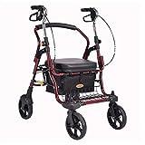 KURT Älterer Wagen 4 runder Leichter Faltbarer Rollstuhl Der Warenkorb des älteren Mannes (Color : Black) -