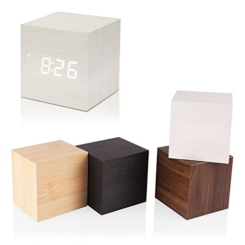 SPGHOME Digitaler Wecker, Holz Würfel Uhr mit Holz Elektronische LED Zeitanzeige Mini Holzwürfel Design Schreibtischuhr Sprachsteuerung Thermometer Timer Kalender