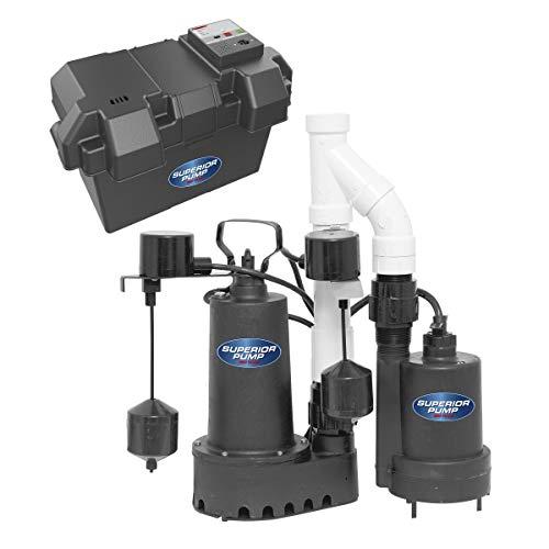 Superior Pump 92911 Cast Iron Primary Sump Backup Pump Kit, 1/2 HP, Black
