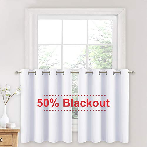 NICETOWN Short Window Curtains for Loft - Grommet Top Design Window Treatment Drapes for Cafe & Dining Room Decoration (Pure White, 2 Panels, 52W by 36L + 1.2 inches Header)