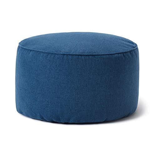 Lumaland Taburete de Interior Comfort Line - Reposapiés Redondo para Puff Pera - Resistente, Versátil y Moderno - 45x25x25 cm - Azul Oscuro