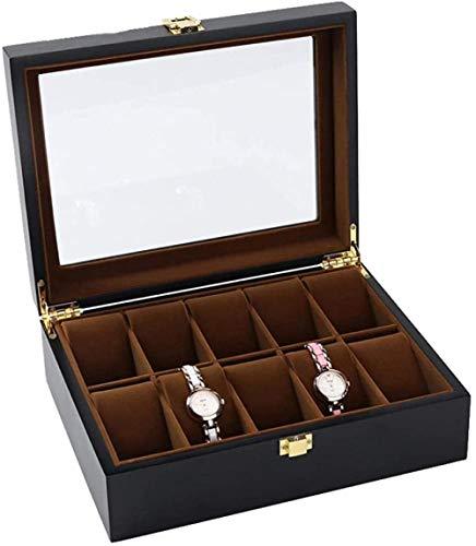 T.T-Q Caja de almacenamiento de reloj con techo corredizo de madera de 10 dígitos caja de colección de relojes mecánicos caja de exhibición de pulsera de joyería caja de regalo joyería 26.5*20*8cm