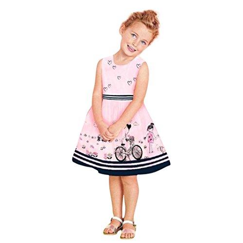 Elecenty Mädchen Prinzessin Kleid,Kinder Maxikleid Baby Abendkleid Kleider Sommerkleid Drucken Ärmellos-Kleid Minikleid Maxikleid Rundhals Ballkleid Kinderkleidung Partykleid (6T, Rosa)