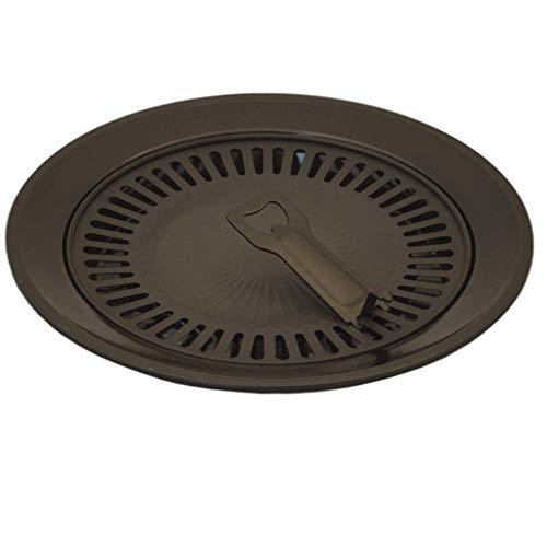 Megaprom Grillplatte für Gasgrill, Grillaufsatz für Gaskocher, Grillrost, Grillfläche, Kochaufsatz, Camping Kocher Zubehör - Rund