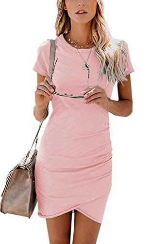 ZIOOER Damen Casual Minikleider Kurzarm Kleider Bodycon Kleid Rosa XL