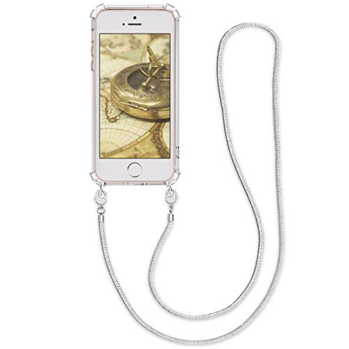 kwmobile Funda de Silicona Compatible con Apple iPhone SE (1.Gen 2016) / 5 / 5S - Carcasa TPU Transparente - Case con cordón de Metal de 120CM