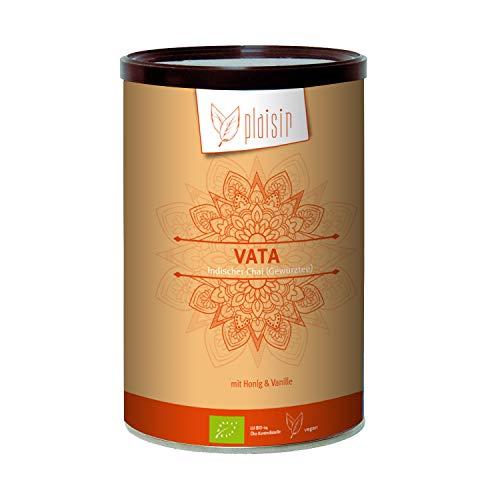 Plaisir Bio Chai Pulver Indischer Gewürztee Vata 350 gr. Dose (Consumer) Bio zertifiziertes Getränkepulver mit Schwarztee und natürlichem Honigaroma