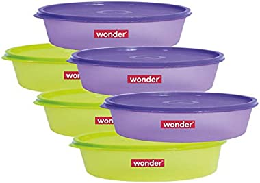 Wonder Plastic Prime Super Fresh 450 Container Set, 6 Pcs Container 450 ml, 3 Violet 3 Green Color, Made In India, KBS02105