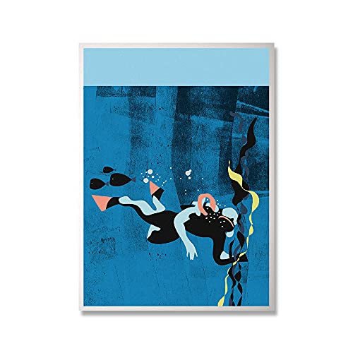 Buceo con escafandra Poster de arte impresiones deportes acuáticos lienzo pintura abstracto océano arte de la pared hogar Salon de estar pasillo Decoracion de la pared Cuadros 60x80cmx1 sin marco