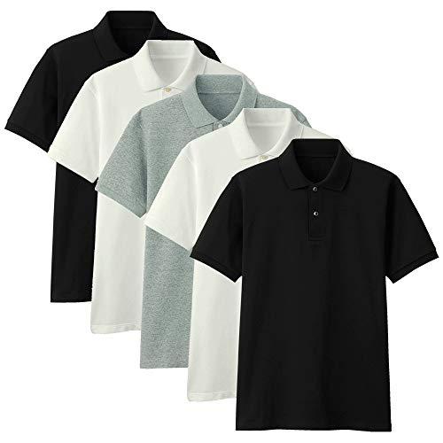 Kit com 5 Camisas Polo Part.B Regular Piquet (Branco/Preto/Cinza, GG)