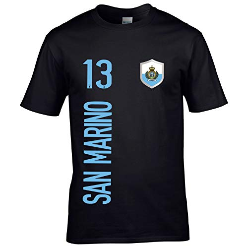 FanShirts4u Herren Fan-Shirt Jersey Trikot - SAN Marino - T-Shirt inkl. Druck Wunschname & Nummer WM EM (S, SAN Marino/schwarz)