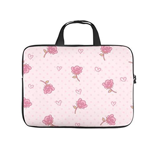 Pink Rose Flowers Hearts 3D Print Laptop Bag Protective Case Soft Neoprene Laptop Case Bag Stylish Laptop Bag for Girls Boys