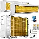 A++/A++ DuoSplit WiFi/WLAN Steuerung Golden-Fin 3,5 + 3,5 kW 12000+12000 BTU MultiSplit Klimaanlage INVERTER Klimagerät und Heizung