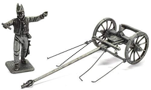 Atlas MHSP Soldat Figur Große Napoleonische Armee Austerlitz 1805 Metall General de Lasalle mit Vorderwagen zum kaiserlichen Gepäckwagen 1:32