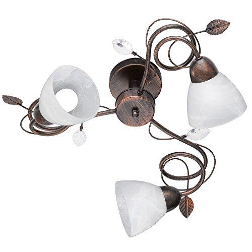 Landhaus Stil Decken Lampe Wohn Zimmer Strahler Alabaster Glas Leuchte rostfärbig Trio 600700328
