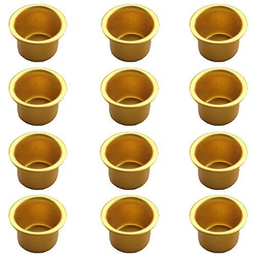 GUOXIANG Kaarseninzetstukken van metaal voor staafkaarsen 12 stuks kaarseninzet van metaal Creative kaarsenhouder kaarsenhouders staafkaarsen theelicht tule (goud)
