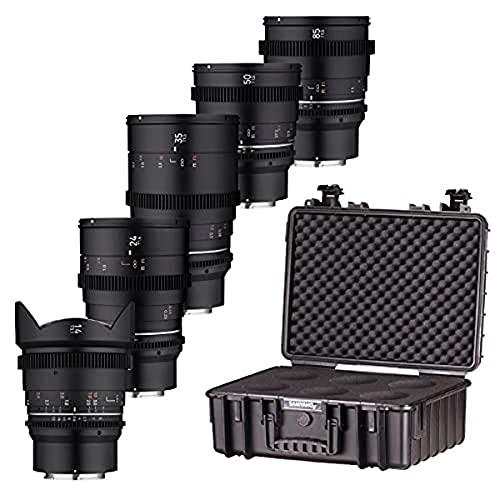 Samyang VDSLR Mk2 - Kit de 5 Lentes con Lentes de vídeo Profesionales de 14 mm, 24 mm, 35 mm, 50 mm y 85 mm para Sony FE
