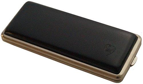 GERMANUS Zigarettenetui, Made in Germany, Schwarz Leder, 85 mm oder 100 mm, schmal