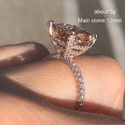 Allywit Excellent Cut Simulated Diamond Gemstone Engagement Ring for Women Rose Gold Wedding Jewelry (8, Rose Gold) Photo #3