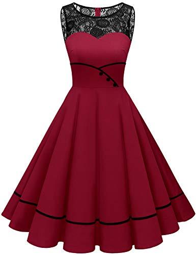Bbonlinedress brautjungfernkleider Rockabilly Kleider Damen Kleider Damen Abendkleider Petticoat Kleid Hochzeit gast cocktailkleid Damen Vintage Kleid Dark Red S