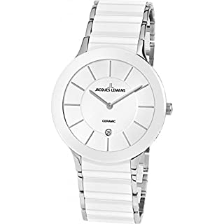 Unisex Quartz Watch Jacques Lemans Dial Analogue Display Silver Stainless Steel Strap and White Dial 1 – 1855b (B01ER02AWO) | Amazon price tracker / tracking, Amazon price history charts, Amazon price watches, Amazon price drop alerts